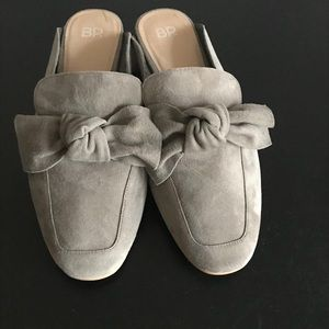 BP Brass Plum Grey Suede Knot Mules Flats Size 10M